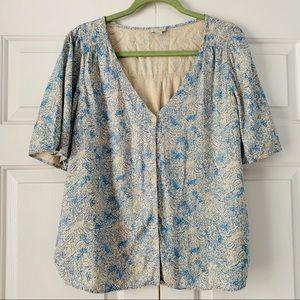 Hinge Short Sleeve Button Blouse Blue & Cream Sz M